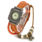 Women's Carved Style Zinc Alloy Case Split Leather Band Quartz Analog Wrist Watch - Orange + Bronze