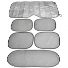 6-in-1 Folding Car Window Sun Shades w/ Suction Cups - Black + Silver