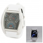 Rectangle Zinc Alloy Electronic Digital Wrist Watch for Men - White + Black + Silver