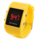 080410 Rectangle Mineral Dial Plastic Band Digital LED Wrist Watch - Yellow (1 x CR2032)