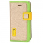 HELLO DEERE Protective PU Leather Case for Iphone 4 - Yellow + Green + Champagne