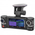"F600 2.7 ""TFT 1.3 MP CMOS Grande Angular Dual-Camera Car DVR w / 8-LED IR Night Vision - Preto"
