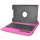 Bluetooth V3.0 59-Key Keyboard w/ 360 Degree Rotation PU Leather Case for Ipad MINI - Deep Pink