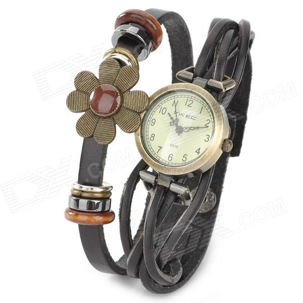 Zinc Alloy Case Split Leather Band w/ Sunflower Quartz Analog Wrist Watch for Women - Black + Bronze shame