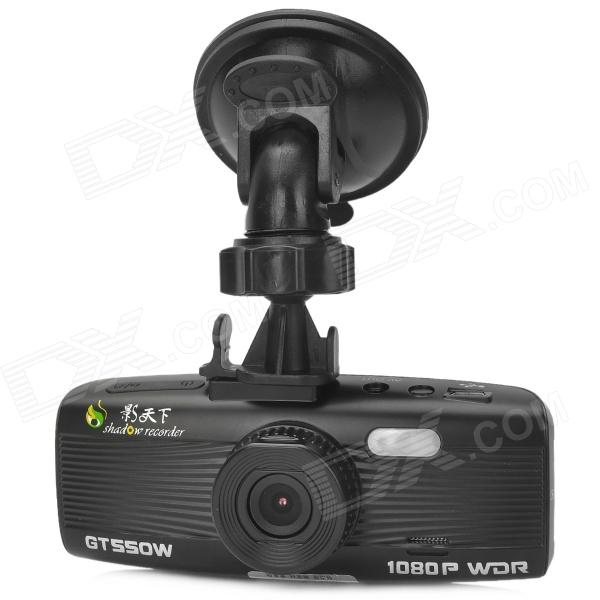 ShadowRecorder GT550W 1080P 5.0 MP CMOS 2.7 TFT Wide Angle Car DVR w/ G-Sensor / 2-LED - Black 940 0 3 mp 1 3 cmos network ip camera w 2 0 lcd time display black 1 x 18650