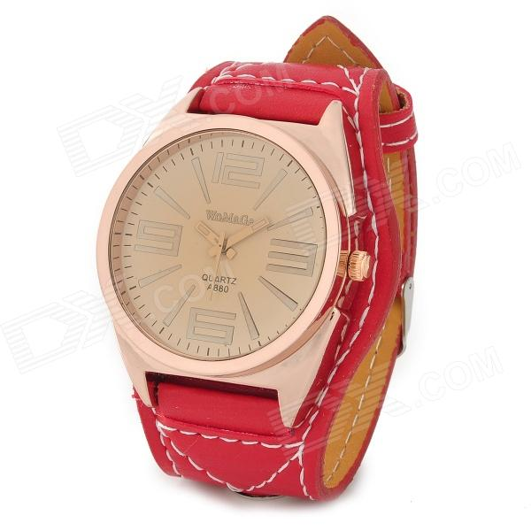 Mineral Dial Zinc Alloy Case PU Band Quartz Analog Wrist Watch for Women - Red + Golden (1 x 337)