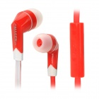 OMASEN OM-M6 In-Ear Stereo Earphone w/ Microphone / Flat Cable for Iphone / Samsung - Red + White