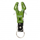 Camping & Hiking Aluminum Alloy Carabiner Hook Clip w/ Key Ring - Green + Silver + Black