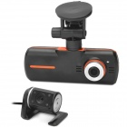 "K60 2.7"" TFT CMOS Dual-Camera Wide Angle Car DVR w/ G-Sensor / 1-LED / AV-Out - Black"