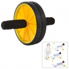 Fitness Abdominal Training Rolling Dual Wheel w/ Knee Pad - Black + Yellow