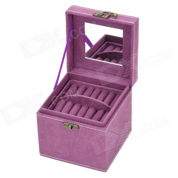ZEA-SS18 PU Leather Cosmetic / Jewelry Storage Box w/ Mirror - Purple