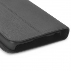 Wallston Protective Wooden Texture Flip-Open PU Leather Case for Iphone 5C - Black