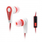 Ditmo DM-6610 In-Ear Stereo Earphone w/ Microphone / Flat Cable for Iphone / Samsung - White + Red