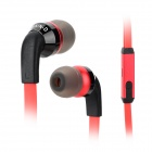 JXC E500 In-Ear Noise-Canceling Earphone w/ Microphone / Flat Cable for Iphone / Samsung - Red