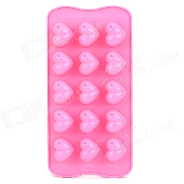 Silicone Heart Shape 16-Component Ice Cubes Chocolate Trays Maker DIY Mould - Pink