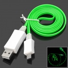 PZCD PZ-28 USB Male to Micro USB Data Charging Cable w/ Green LED Light for Samsung / HTC / XiaoMi