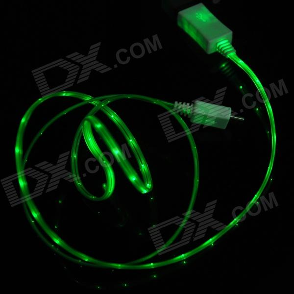PZCD USB Male to Micro USB Data Charging Cable w Green LED Light for Samsung