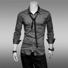 Fashion Cotton + Polyester Long Sleeves Dress Shirt for Men - Grey (L)
