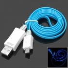 PZCD PZ-27 Micro USB Male to USB Male Data / Charging Cable w/ Blue Visible Light for Samsung / HTC