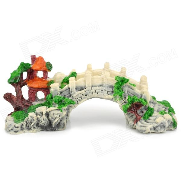 HongYang C001 Fish Tank Decorations Resin Artificial Bridge - White + Green + Brown + Orange fish tank decoration grass hillside green