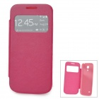 Stylish Protective PU Leather Case w/ Display Window for Samsung Galaxy S4 Mini i9190 - Deep Pink