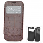 Crocodile Skin Style PU Leather Case w/ Display Window for Samsung Galaxy S4 Mini i9190 - Brown