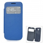 Stylish Protective PU Leather Case w/ Display Window for Samsung Galaxy S4 Mini i9190 - Blue