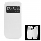 Crocodile Skin Style PU Leather Case w/ Display Window for Samsung Galaxy S4 Mini i9190 - White