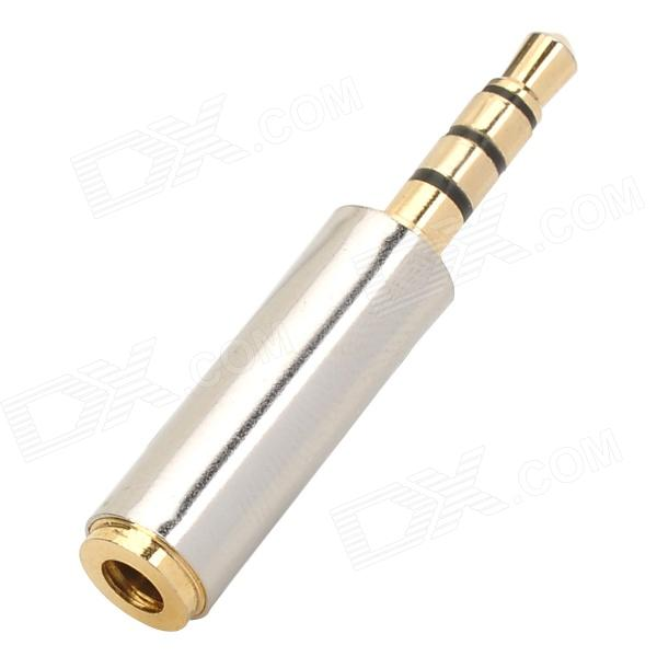 3.5mm M-F Stainless Steel Earphone Audio Adapter - Silver + Golden