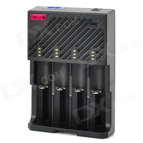 LusteFire F4 Battery Charger for 22650/18650/17670/18490/17500/17335 Battery - Black (EU Plug) nitecore i2 multi function battery charger for 26650 22650 18650 17670 aa more black