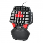 Delux T9 USB 2.0 con cable de juego 46-Key Teclado w / 3-Mode LED Backlight - Negro + Rojo