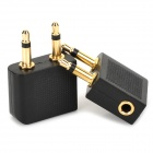 3.5mm Double Male to 3.5mm Female stereo Plug Adapter - Black + Golden (2 PCS)