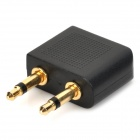 3.5mm Double macho a hembra adaptador de enchufe estéreo de 3,5 mm - Negro + Oro (2 PCS)
