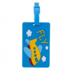 Plane Style Travel PVC Bag / Luggage Tag w/ Strap - Blue + Yellow + Red + White