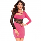 LC2773-1 Women's Personalized Sexy Long-Sleeve Lace Dress - Pink + Black (Free Size)