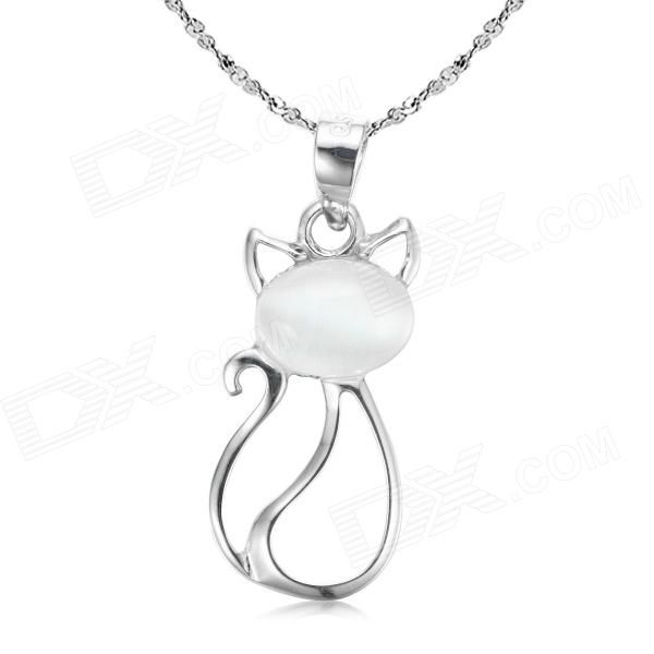 eQute PSIW6C1 925 Silver Cat's Eye Fortune Pendant Necklace (18