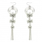eQute EPEW14C1 Shiny Exagerated Tassels with Bow Earrings - Silver (Pair)