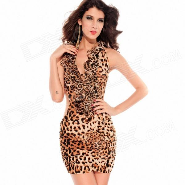Profondo scollo a v Backless abito Sexy - Brown Leopard (formato libero)