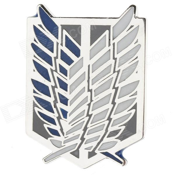 Anime Style Feather Pattern Zinc Alloy Brooch Pin - Blue + White + Silver