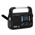 Degen DE16 Multifunction Handcranking / Solar Powered Radio w/ 3-LED Lamp - Black + White