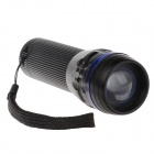 251 Mini 3-Mode 240lm Convex Lens LED White Zooming Flashlight - Black + Blue (1 x 18650 / 3 x AAA)