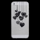 Cute Heart-Shape Pattern Protective PC Back Case for Iphone 5 - Black + Transparent