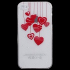 Cute Heart-Shape Pattern Protective PC Back Case for Iphone 4 / 4S - Red + Transparent