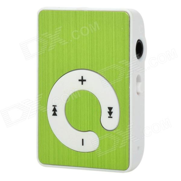 KD-MP3-31-LVSE Mini Portable TF Card MP3 Music Player w/ Clip - Green + White (16GB Max.)
