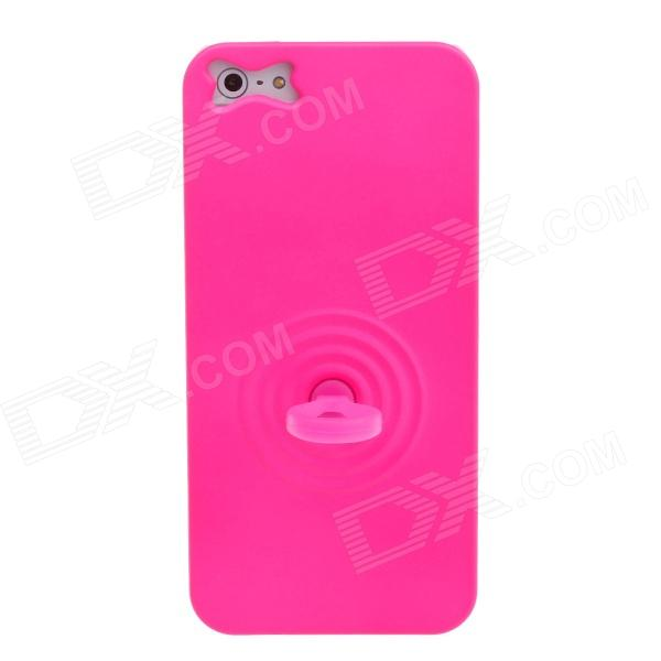 Luminous Protective Back Case w/ Finger Buckle + Wrist Rope for Iphone 5 - Deep Pink