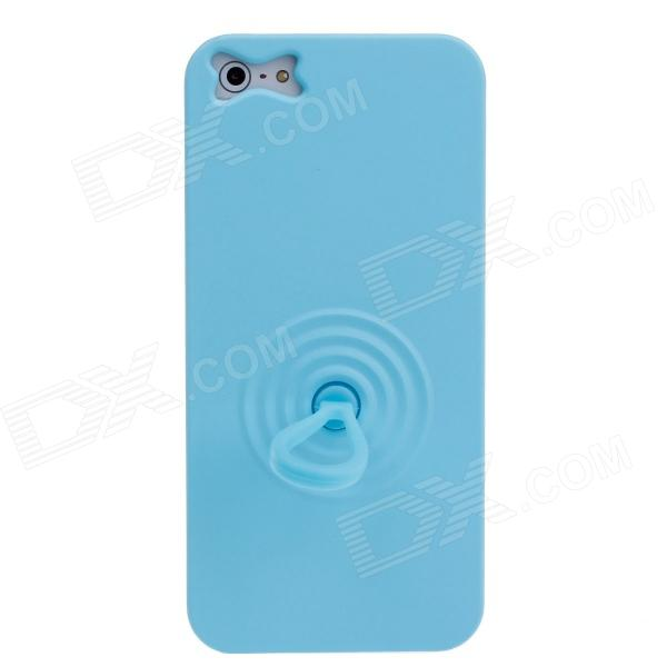 Luminous Protective Back Case w/ Finger Buckle + Wrist Rope for Iphone 5 - Blue