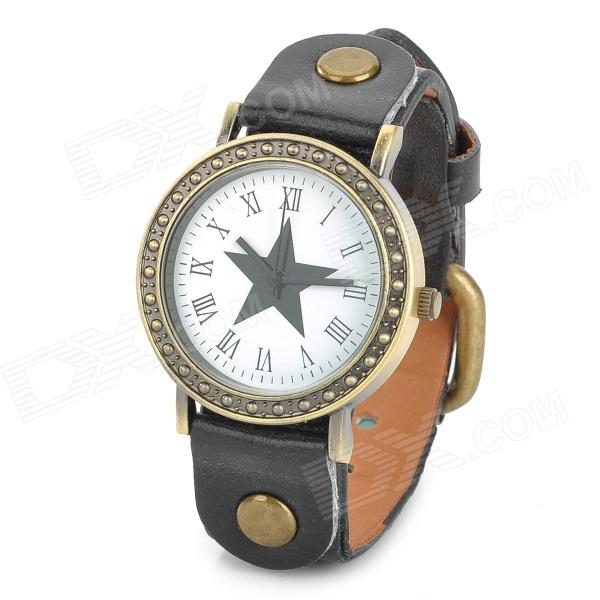 Fashion PU Leather Band Five-pointed Star Analog Quartz Wrist Watch - Black + Bronze