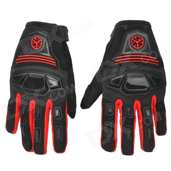 SCOYCO MC24 Professional Motorcycle Full-Finger Gloves - Red + Black (Size M)