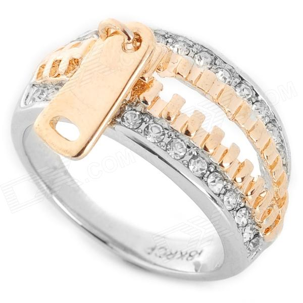 Creative Zipper Pattern Zinc Alloy Ring - Golden + Silver artdeco блеск для губ устойчивый fashion colors brilliance 62 5 мл