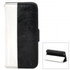 MODBI UC04APIP5 Protective PU Leather Case w/ Screen Protector for iPhone 5 - Black + White
